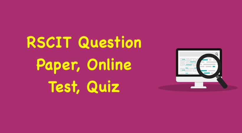 RSCIT Online Test 2019, RSCIT Online Test in Hindi 2019